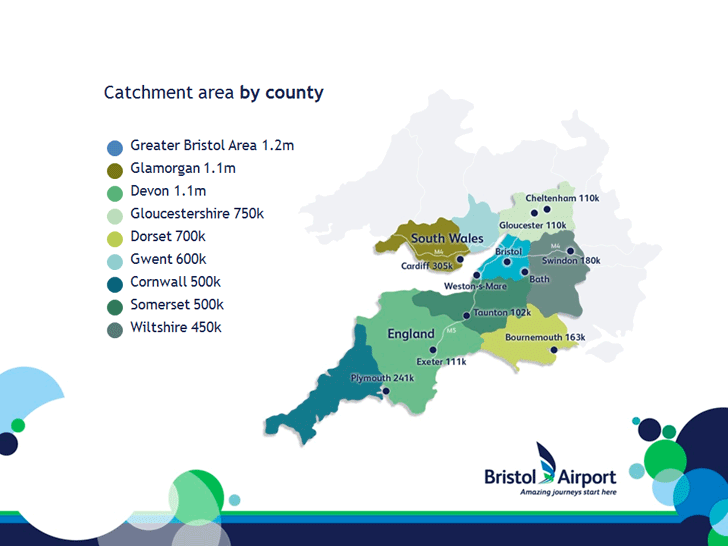 Bristol Airport catchment area by county