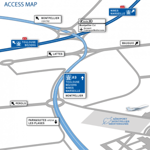 Montpellier Mediterranee Airport access map