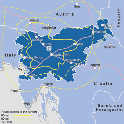 Airport Ljubljana catchment map 2