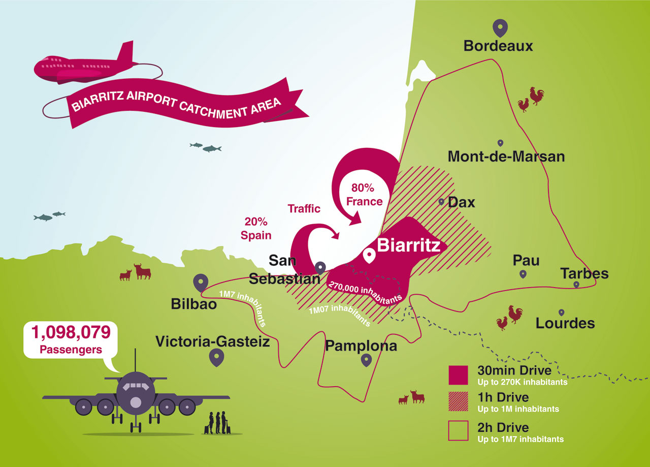 Map Of Spain With Airports.Biarritz Airport Biq Unserved Routes In The Route Shop